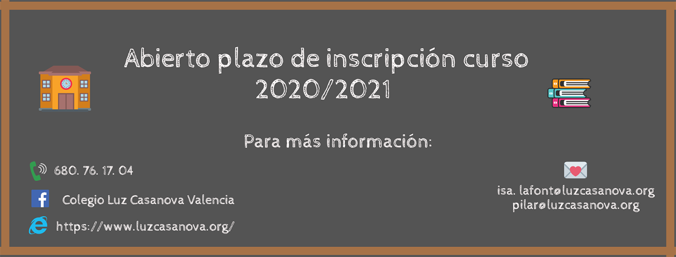 Inscripción nuevo curso 2020/2021